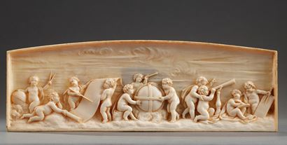 Early 19th Century continental ivory plaque: le lesson in astronomy.