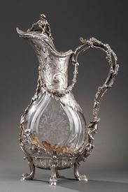 Ewer in silver and crystal. Late 19th century.