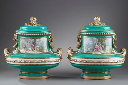 Pair of Louis XV style porcelain vases.<br> Napoleon III period.