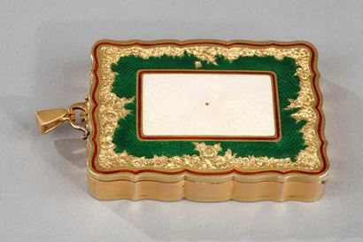 A jewelled two colour gold mounted and guilloché enamel carnet de bal.  XXth century