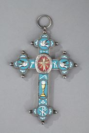 Silver and micromosaic croce pendant. Circa 1860