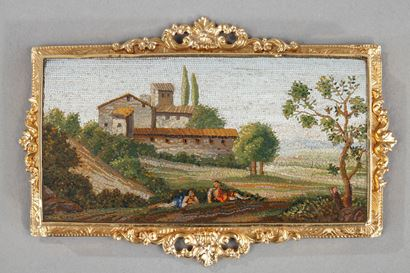 Micromosaic Plate with Arcadian landscape.