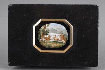 Micromosaic and gold paperweight. After G.Barberi.  Early 19th century.
