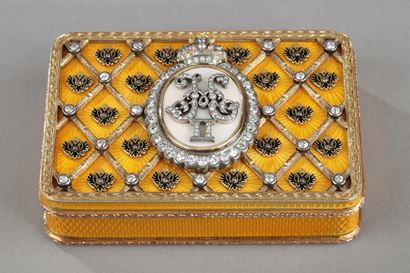 Tsar Nicholas II coronation snuff box. In homage to FABERGE. Early 20th century.