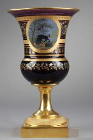 Opaline Medicis vase ormolu mounts inspired by La Fontaine' fables.  Circa 1820-1830