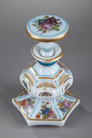 Mid-19th century opaline flask with bouquet of flowers.