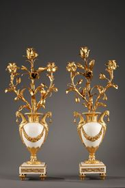 PAIR OF LOUIS XVI CANDELABRAS IN MARBLE AND GILT BRONZE.