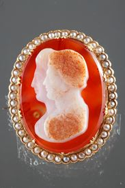 Napoleon III Gold-Mounted Agate Cameo Brooch.