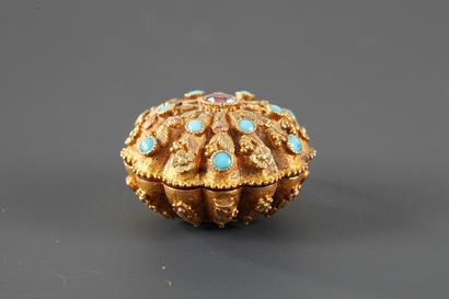 Early 19th Century Gold ,Turquoise and rubis Vinaigrette