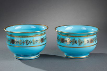 Early 19th Century pair of Blue Opaline Bowls. Charles X.