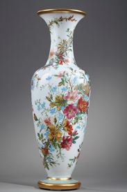 Opaline Vase with Polychrome Flowers and Gold Bands.  Mid-19th century.