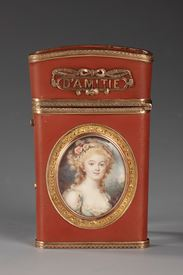 LATE 18TH CENTURY WRITING CASE with miniature.