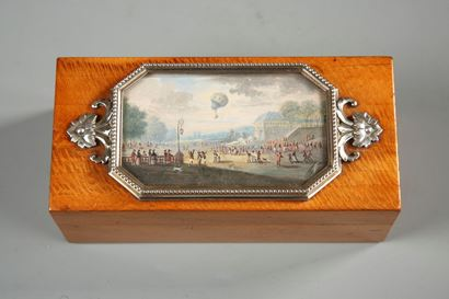 19th Casket in wood, silver with miniature on air balloon in Versailles.  Early 19th century.