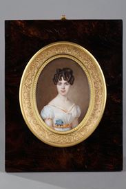 Large miniature on ivory.  Signed Amélie Daubigny.