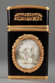 Gold panel and vernis Martin writing case.<br/>