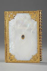 Charles X dance card in mother of pearl and bronze. 