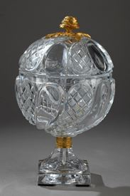 Charles X Cut-Crystal and Gilt Bronze Candy Dish.