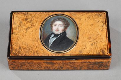 Wood, Tortoishell And Enamel Box With Miniature. Mid-19th Century.