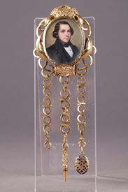 Gold Chatelaine with Portrait Signed Flavien Emmanuel Chabanne.