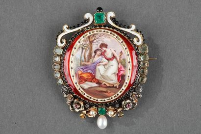 Gold-Mounted Brooch in gold, enamel and stones.