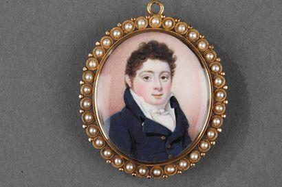 "Louis-Philippe pendant ""Souvenir"" with miniature on ivory."