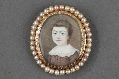 Miniature on Ivory Brooch, 19th Century.