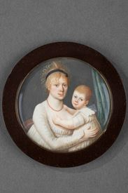 Miniature on ivory. WOODEN FRAME. <br/> Early 19th century.