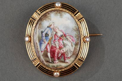 A Mid-19th century Gold-Enameled Brooch with pearls.