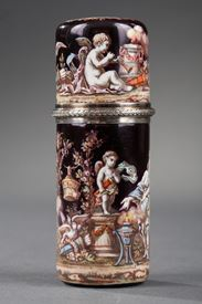 SILVER-GILT AND ENAMEL FLASK.<br/>
