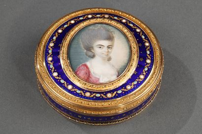 A Louis XVI gold and enamelled box with portrait. Circa 1784