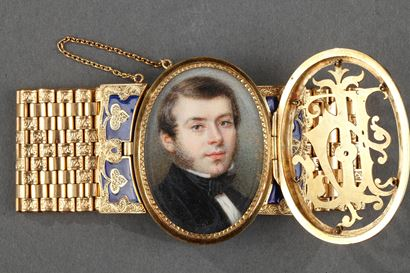 Gold and enamel miniature bracelet, Bost, 19th century.