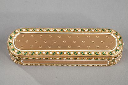 A 18th-Century Gold and enamel case. Hanau