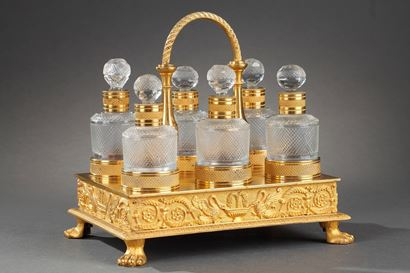 Charles X Cut-Crystal and Gilt Bronze Perfume Cellaret.