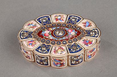 Enameled Gold Snuff Box with Diamonds.