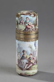 Silver and ENAMEL FLASK. 19TH CENTURY.