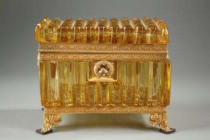 Early 19th century French cut crystal box in Rare Amber color.
