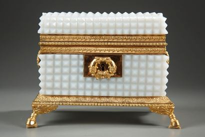 Charles X white Opaline jewelry Box.