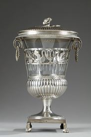 First Empire silver et crystal candy dish.