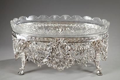LATE 19TH CENTURY SILVER AND CUT-CRYSTAL JARDINIERE.