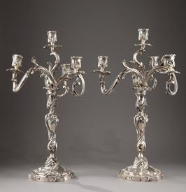 19th Century Silver candelabra Signed BOIN TABURET.