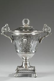 French Restauration Silver and Crystal Candy Dish.