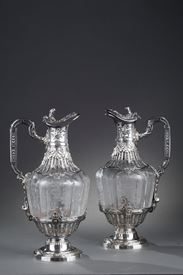 19th century silver pair of ewers and crystal engraved.