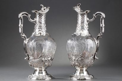 19th century Pair of silver ewers and engraved crystal.