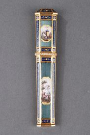 GOLD, ENAMEL, AND PEARL NEEDLE CASE. <br/>