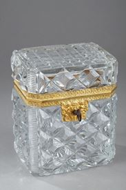 CHARLES X CUT CRYSTAL CASKET WITH ORMOLU MOUNTS.