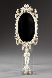 mid-19th Carved ivory mirror in Renaissance Revival, Dieppe.
