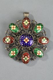 Enamel Of Bresse Pendant. 19th Century.