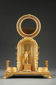 Charles X mother-pearl and gilt bronze watch holder and inkwell.
