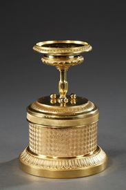 A late 19th century gilded bronze inkwell.