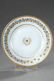 Charles X white opaline plate by Jean-Baptiste Desvignes.